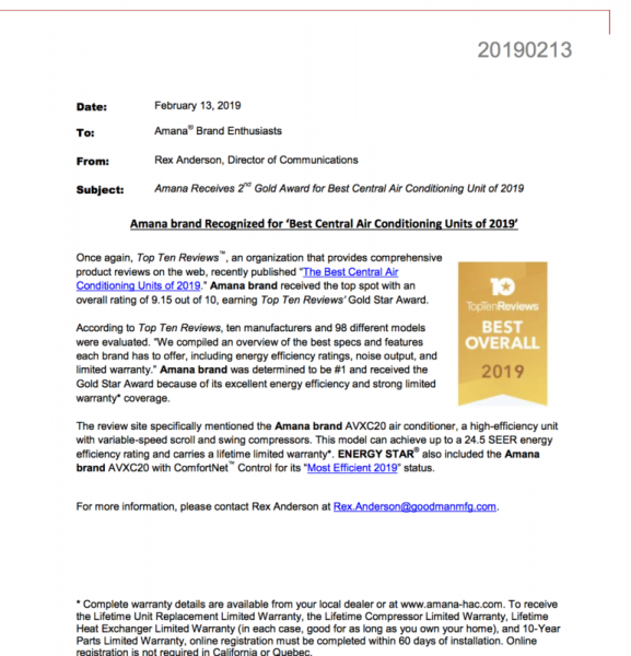 """Amana brand Recognized for """"Best Central Air Conditioning Units of 2019"""